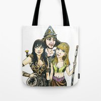 xena Tote Bags featuring Xena by Arlie Opal