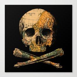 Treasure Map Skull Wanderlust Europe Canvas Print