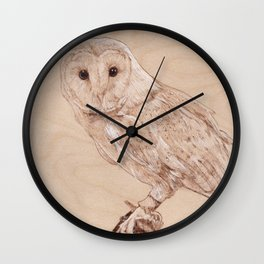 Owl Portrait - Drawing by Burning on Wood - Pyrography Art Wall Clock