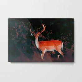 Deer in dark forest / fallcollection / scandinavian style Metal Print