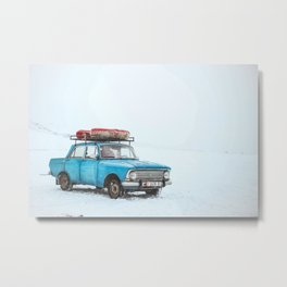 Blue Sedan on Snow at Daytime Metal Print