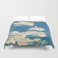 japanese Duvet Covers featuring Japanese Flowers by PureVintageLove
