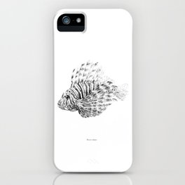 Lionfish - Pterois volitans (black and white, with scientific name) iPhone Case
