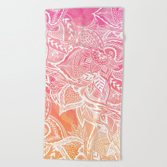 Modern pink coral ombre sunset watercolor floral white boho hand drawn pattern Beach Towel