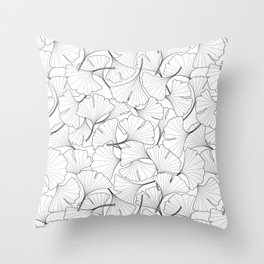 ginkgo leaves (white) Throw Pillow
