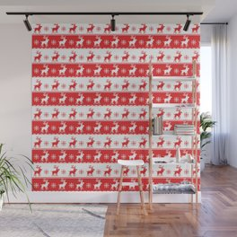 Knitted Red White Reindeer Wall Mural