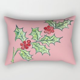 Holly Sprig (red) Rectangular Pillow