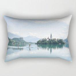 Paddle boarding on Lake Bled Rectangular Pillow