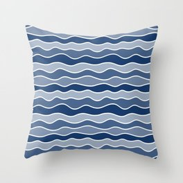 Blue Mid Century Modern Abstract Wave Pattern // Horizontal Wavy Lines Throw Pillow