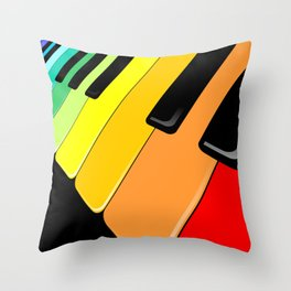 Piano Keyboard Rainbow Colors  Throw Pillow