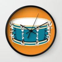 drum Wall Clocks featuring Drum - Orange by Ornaart