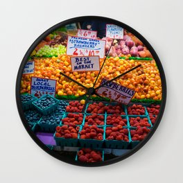 pike place fruit Wall Clock