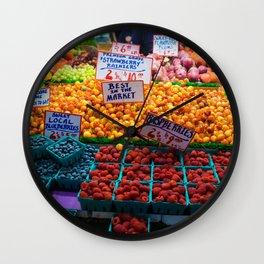 pike place fruit Wall Clock