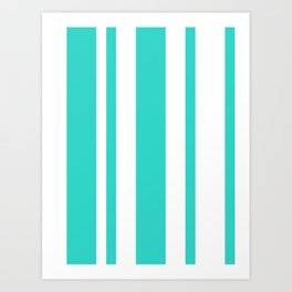 Mixed Vertical Stripes - White and Turquoise Art Print