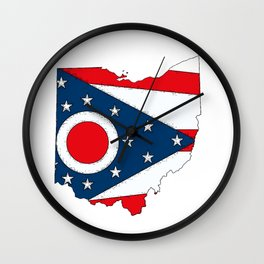Map of Ohio with State Flag Wall Clock
