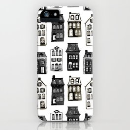 Mansard Mansions in Black + White Watercolor iPhone Case