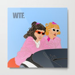 WTF - Grease Movie Vibes Got Me Like - Fan Art Digital Throwback Drawing Metal Print
