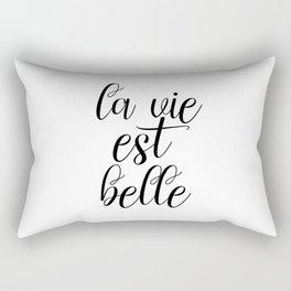 La Vie Est Belle, French Quote, Affiche Scandinave, Inspirational Poster Rectangular Pillow