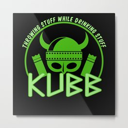 Kubb Viking Chess and Party T-shirt Metal Print