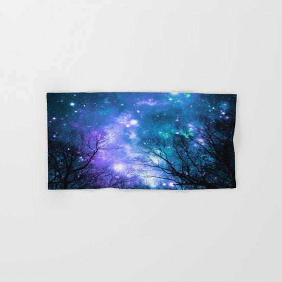 Black Trees Violet Teal Space Hand & Bath Towel