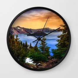 Wallpaper USA Crater Lake National Park Oregon Nature Spruce Mountains park mountain Parks Wall Clock