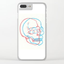 3D Skull Illustration - 3D Skull Print - Three Dimensional Skull Illustration - Skull Drawing Clear iPhone Case