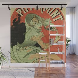 Vintage French mint liqueur ad by Chéret Wall Mural