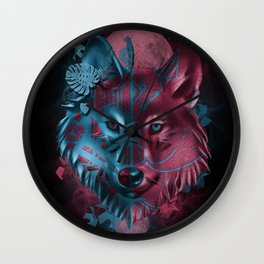 wolf art decor black Wall Clock