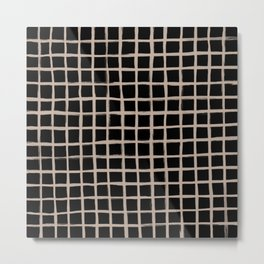 Strokes Grid - Nude on Black Metal Print