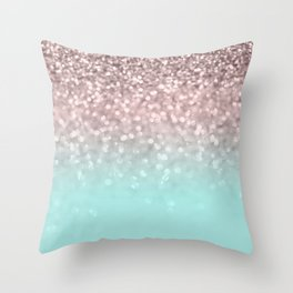 Sparkling Rose Gold Blush Aqua Glitter Glam #1 #shiny #decor #society6 Throw Pillow
