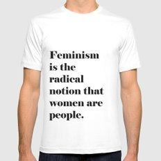 Feminism  White Mens Fitted Tee MEDIUM