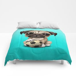 Cute Pug Puppy Dog With Football Soccer Ball Comforters