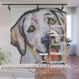 Yellow Lab Labrador Retriever Dog Portrait Pop Art painting by Lea Wall Mural