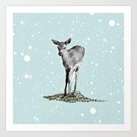 bambi Art Prints featuring Bambi by Monika Strigel