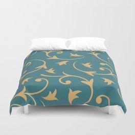 Baroque Design – Gold on Teal Duvet Cover