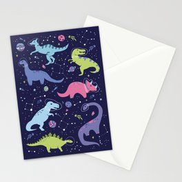 Dinosaurs in Space Stationery Cards