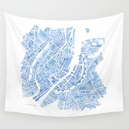 Copenhagen Denmark watercolor city map Wall Tapestry