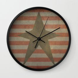 Patriotic Grunge Star on Stripes Wall Clock