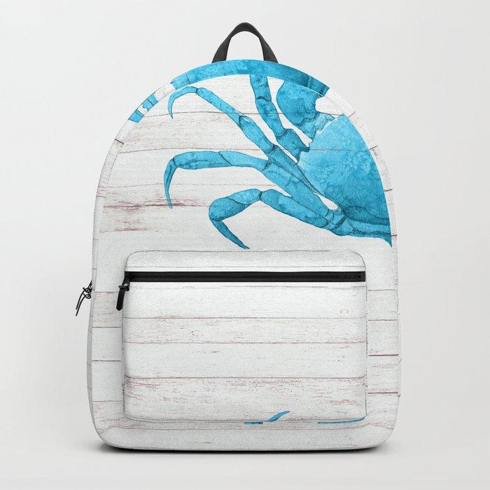 Nautical Blue Crab Driftwood Dock Backpack
