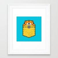 pocket Framed Art Prints featuring Pocket Tiger by Steven Toang
