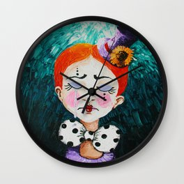 Ginger Clown with a Hat Wall Clock