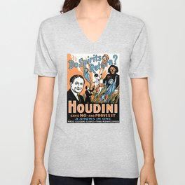 Harry Houdini, do spirits return? Unisex V-Neck
