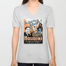 Harry Houdini, do spirits return? Unisex V-Neck