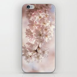 Bee and cherry branches against the blue sky iPhone Skin