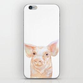 Pig Face Watercolor Farm Animal iPhone Skin