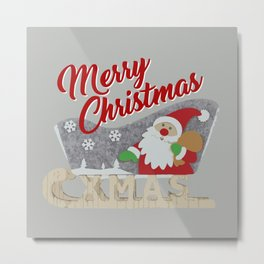 Santa Claus with sled Metal Print