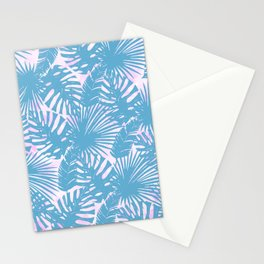 Modern teal pink watercolor tropical floral leaves Stationery Cards