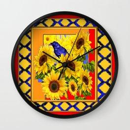 BLUE CROW & YELLOW SUNFLOWERS  RED  LATTICE ART Wall Clock