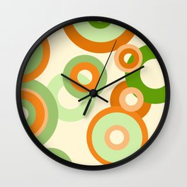 vintage rings orange green Wall Clock