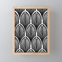 Art deco,Black and white pattern, vintage,nouveau,chic and elegant, belle époque,fan pattern Framed Mini Art Print